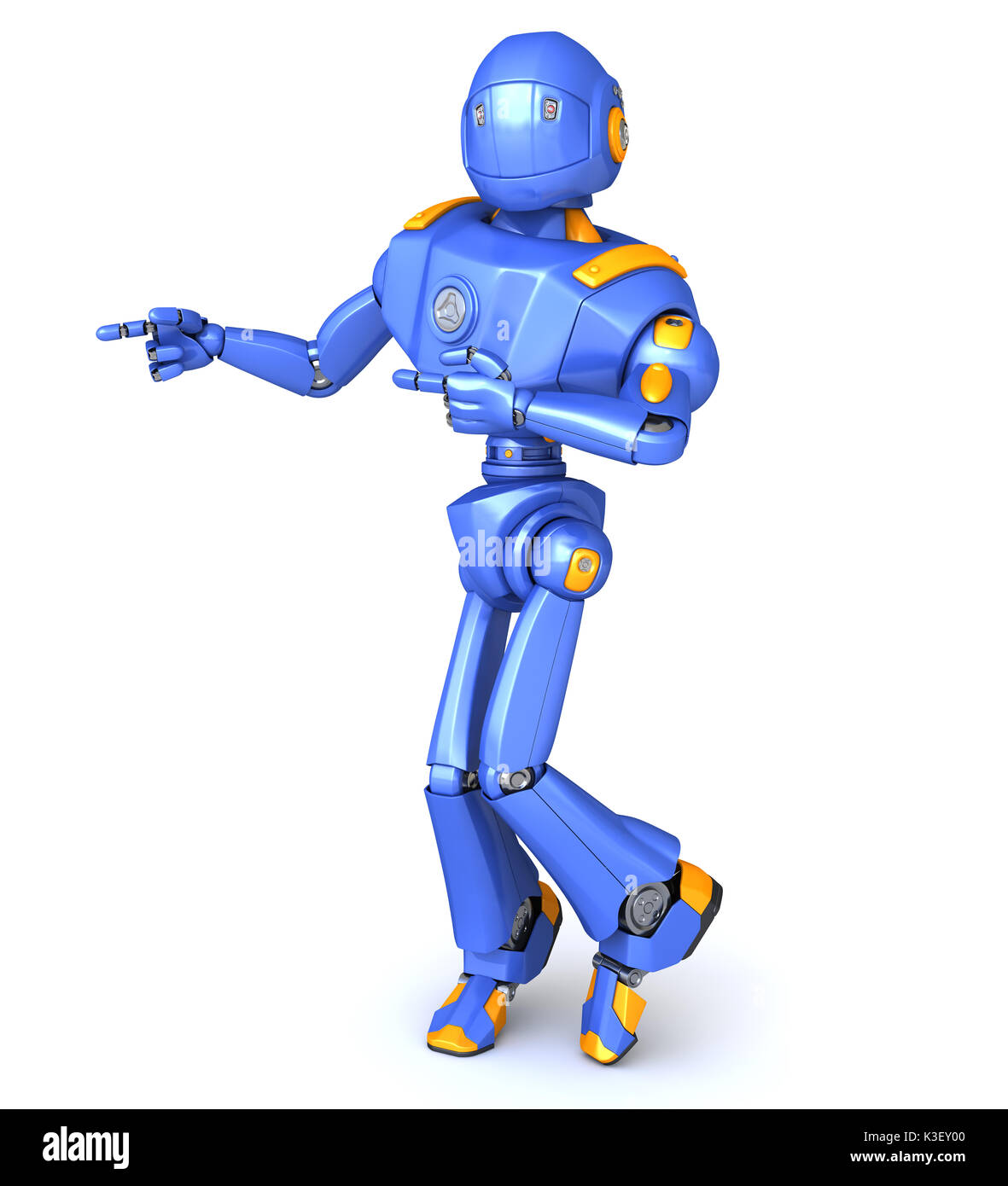 Cute robot character pointing something Stock Photo