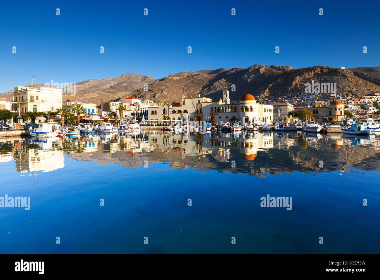 View of the Kalymnos town early in the morning, Greece. - Stock Image