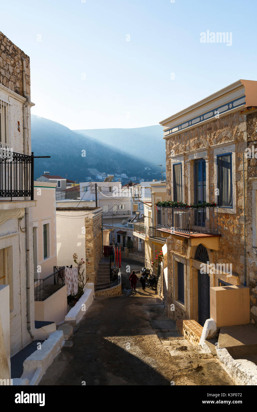 Typical street in Kalymnos town, Greece. - Stock Image