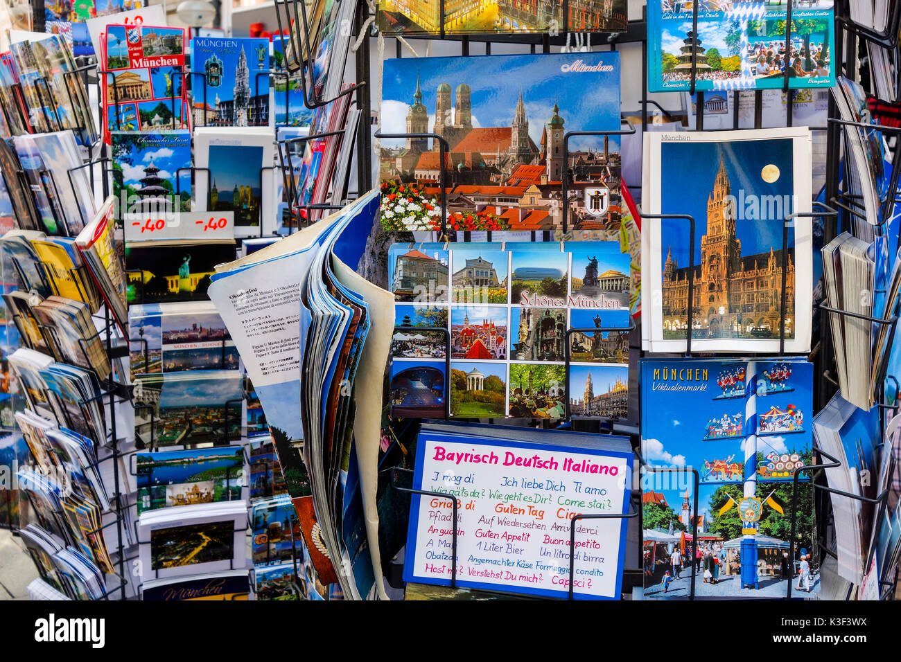 rack with postcards in Munich, Bavaria, Germany - Stock Image