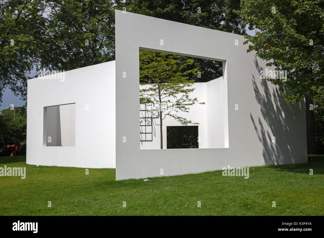 Sculpture garden Gallery of Sou Fujimoto of concrete in the sculpture park Cologne, North Rhine-Westphalia, Germany - Stock Image