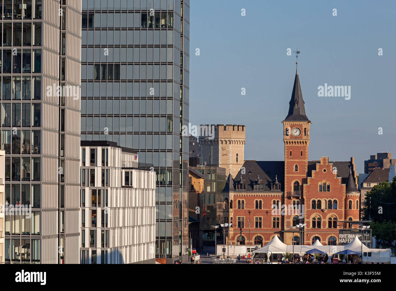 Old port authority with yacht harbour and crane houses, Cologne, North Rhine-Westphalia, Germany - Stock Image