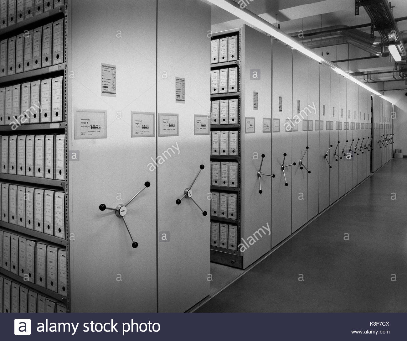 Storage Room Containing Archival Files, Stasi Museum, Berlin, Germany - Stock Image