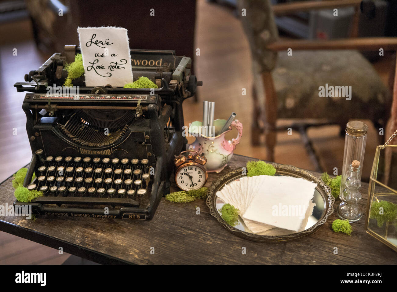 Old Typewrite with Hand Written Note - Stock Image