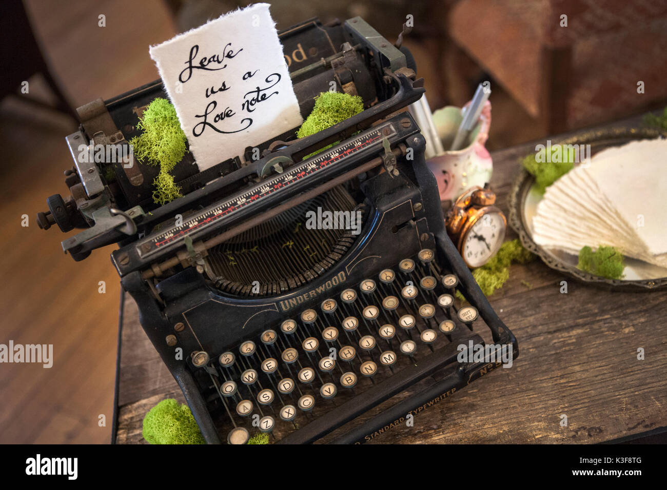 High Angle View of Old Typewrite with Hand Written Note - Stock Image