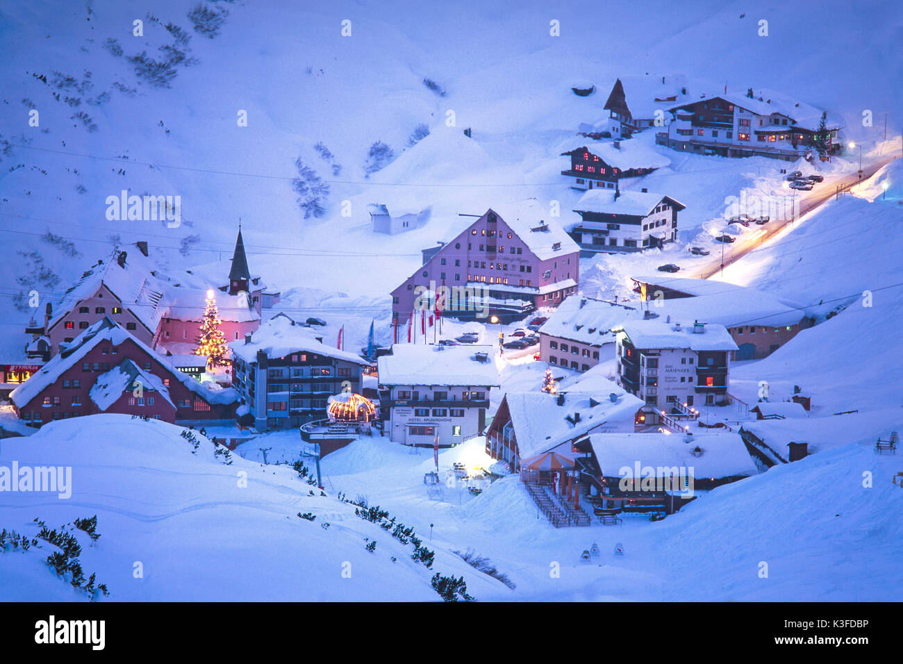 St. Christoph at the mountain Arl to the yule tide - Stock Image