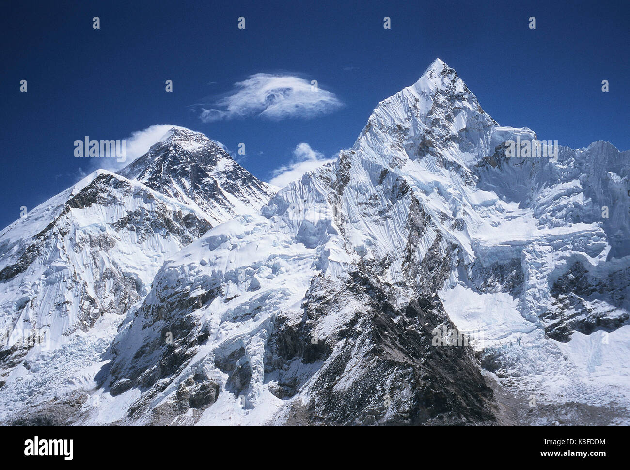 Mount Everest (on the left) and Nupse (on the right) from Kala Patar seen - Stock Image