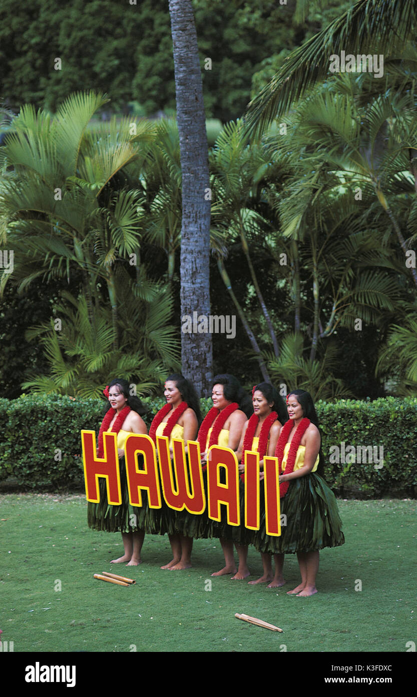 Hula dancers on Hawaii - Stock Image