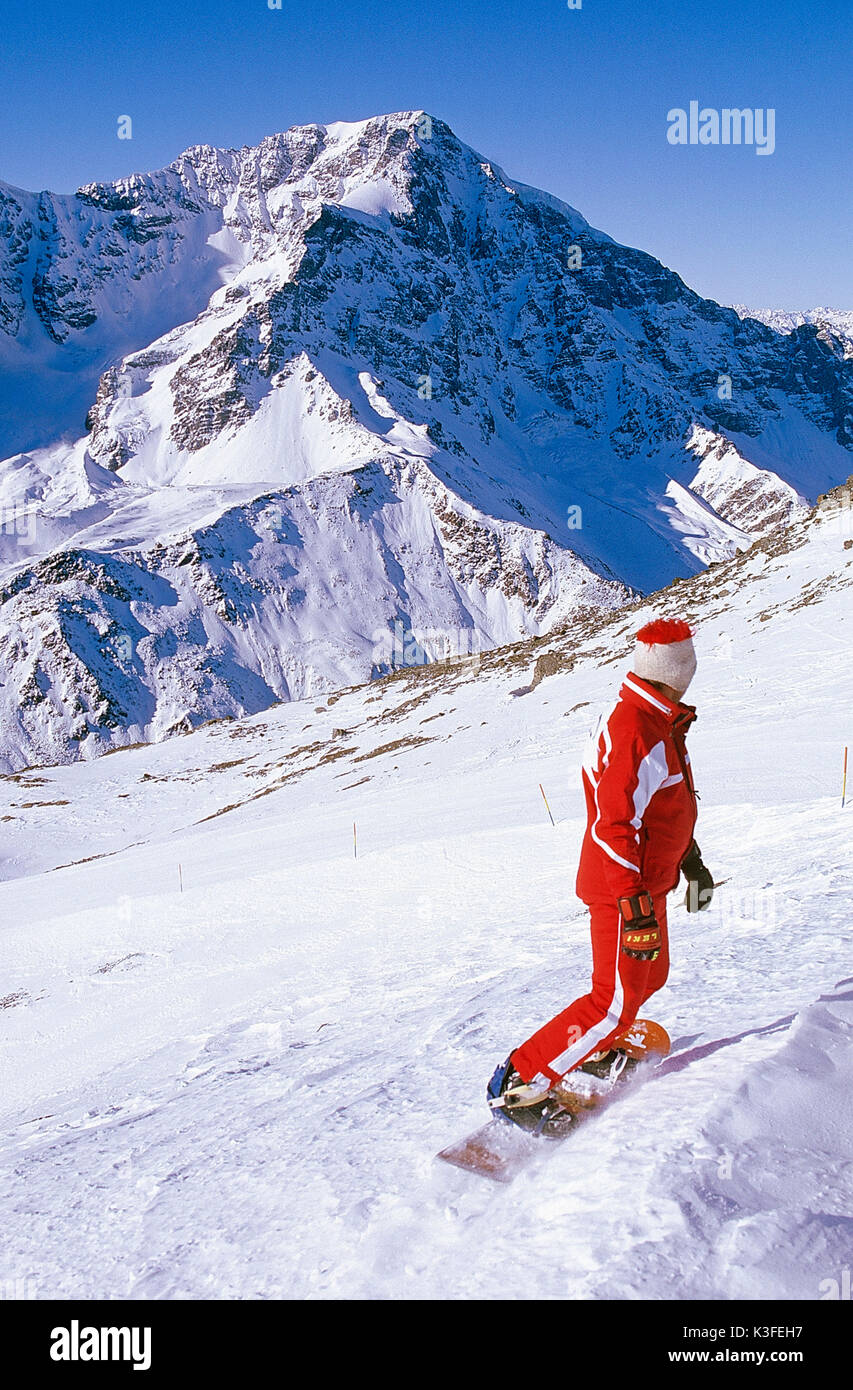 Snowboard driver at the Ortler - Stock Image