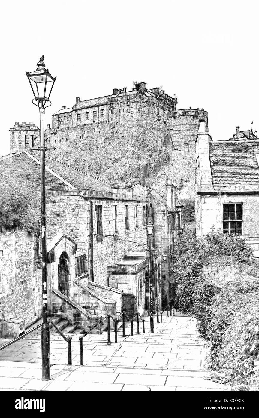 Pencil sketch looking up at the royal palace and the half moon battery both parts of edinburgh castle edinburgh scotland uk