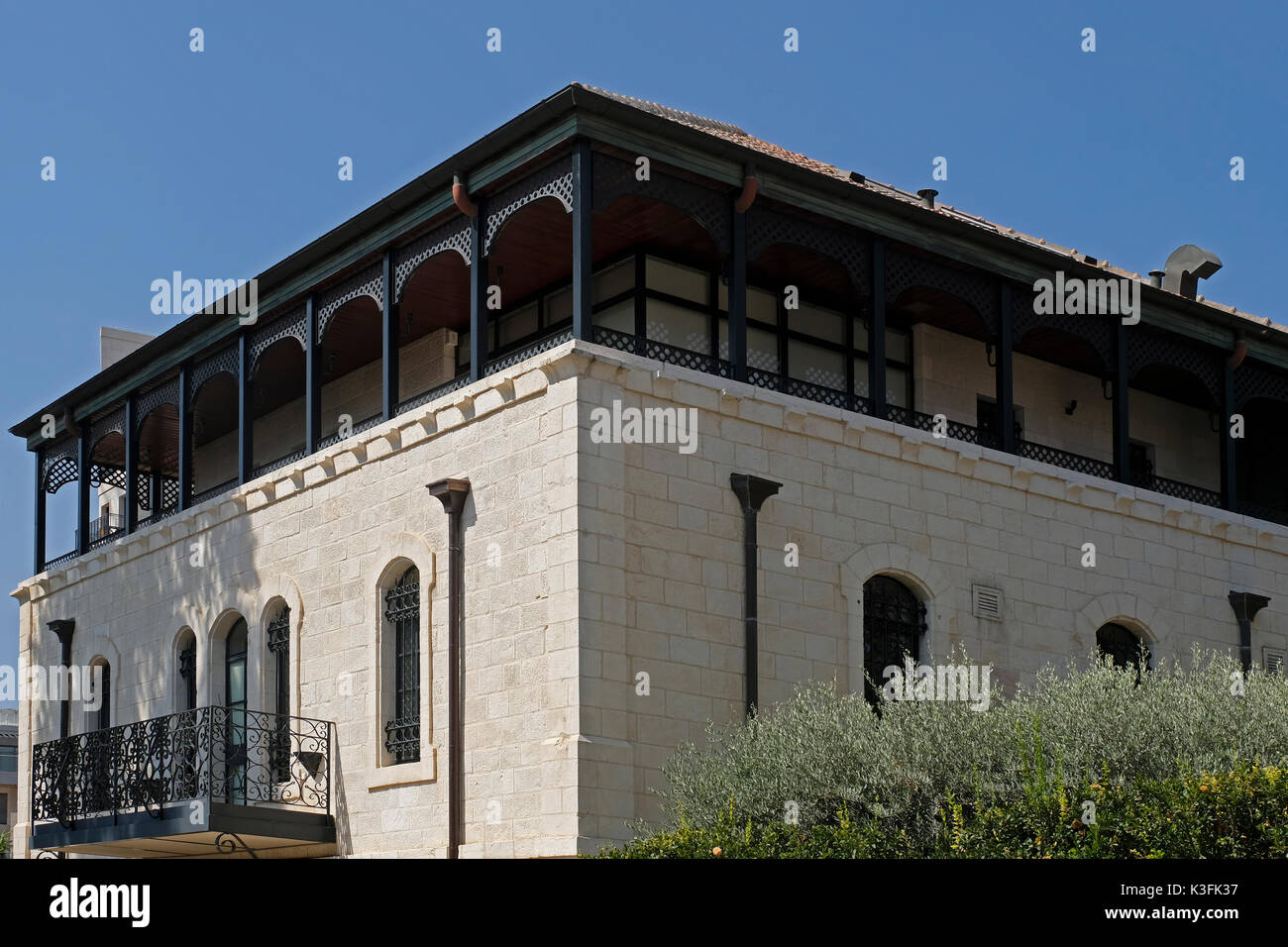 A renovated late-19th century house now owned by Jewish American billionaire Joseph Mordechai Tabak, who serves as the CEO of Princeton Holdings a New York City based real estate investment firm located on Ethiopia street in West Jerusalem Israel - Stock Image