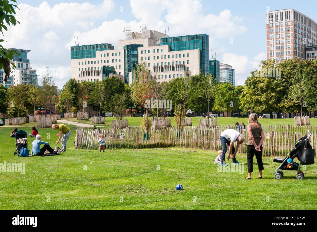 MI6 building seen over Vauxhall Pleasure Gardens open space. - Stock Image