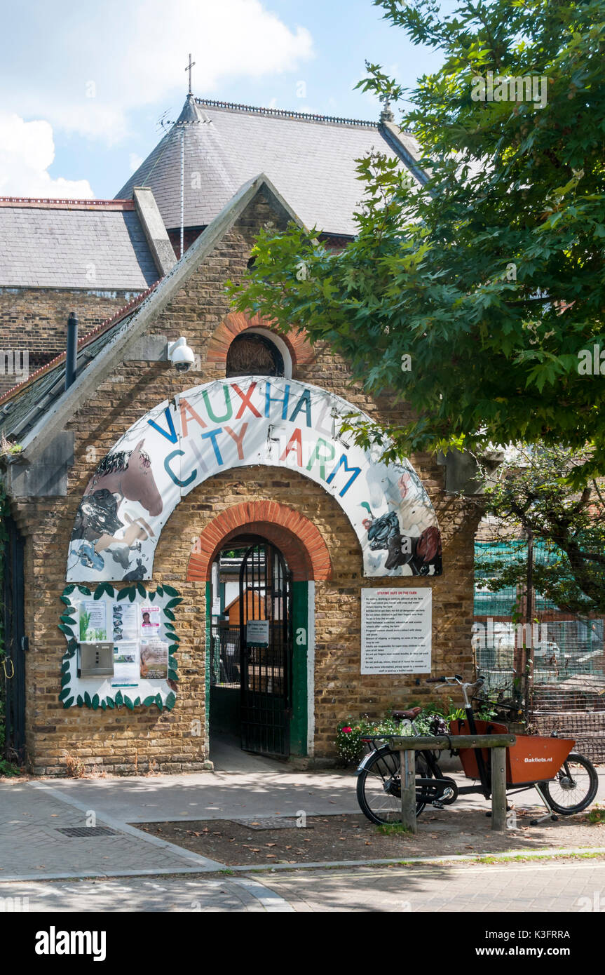 Entrance to Vauxhall City Farm in south London - Stock Image