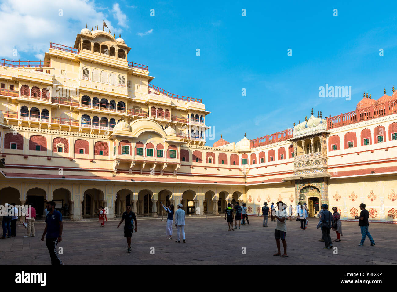 JAIPUR, RAJASTHAN, INDIA - MARCH 10, 2016: Horizontal picture of Chandra Mahal inside of City Palace in Jaipur, known as pink city of Rajasthan in Ind - Stock Image