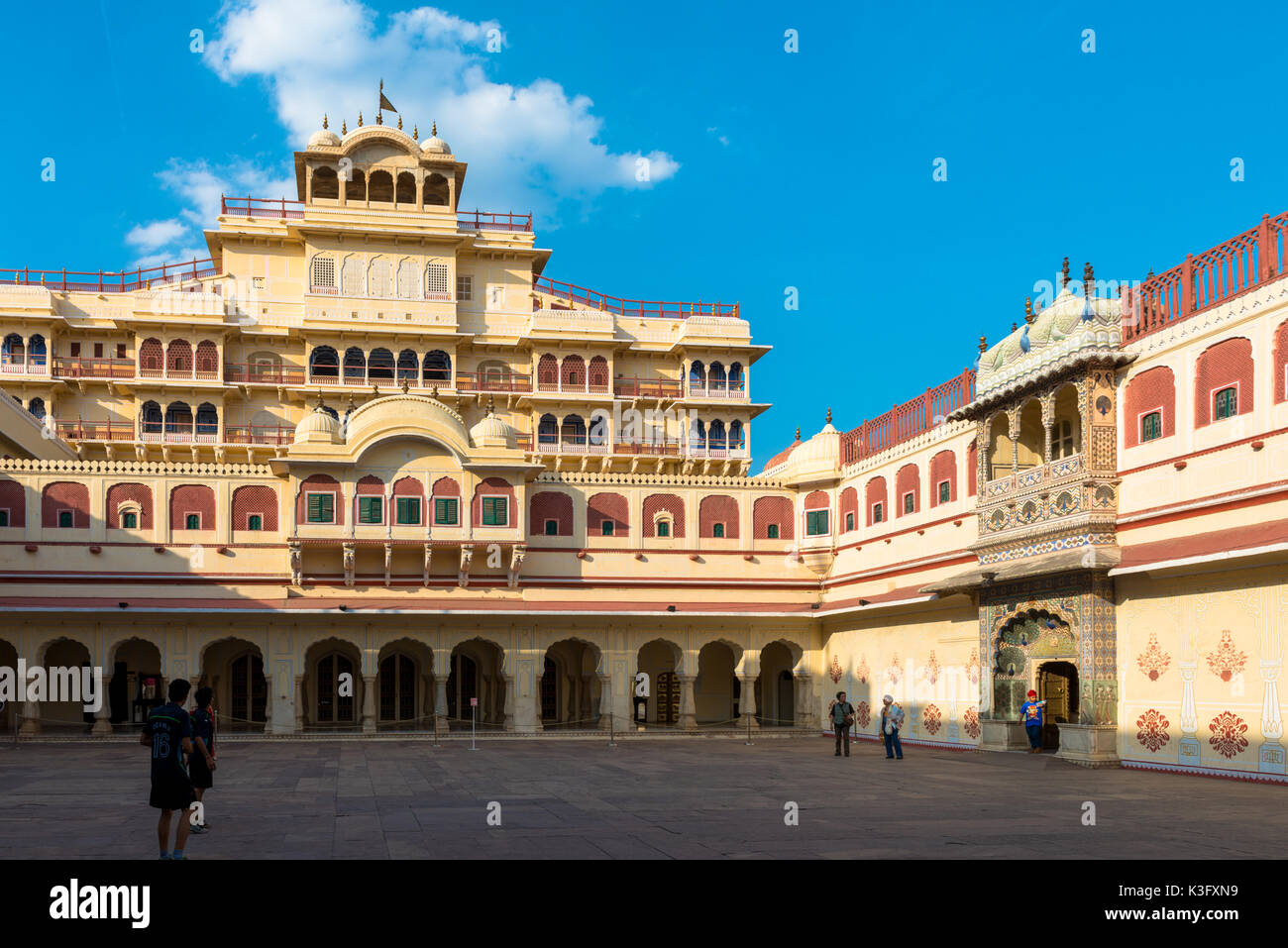 JAIPUR, RAJASTHAN, INDIA - MARCH 10, 2016: Front picture of Chandra Mahal inside of City Palace in Jaipur, known as pink city of Rajasthan in India. - Stock Image