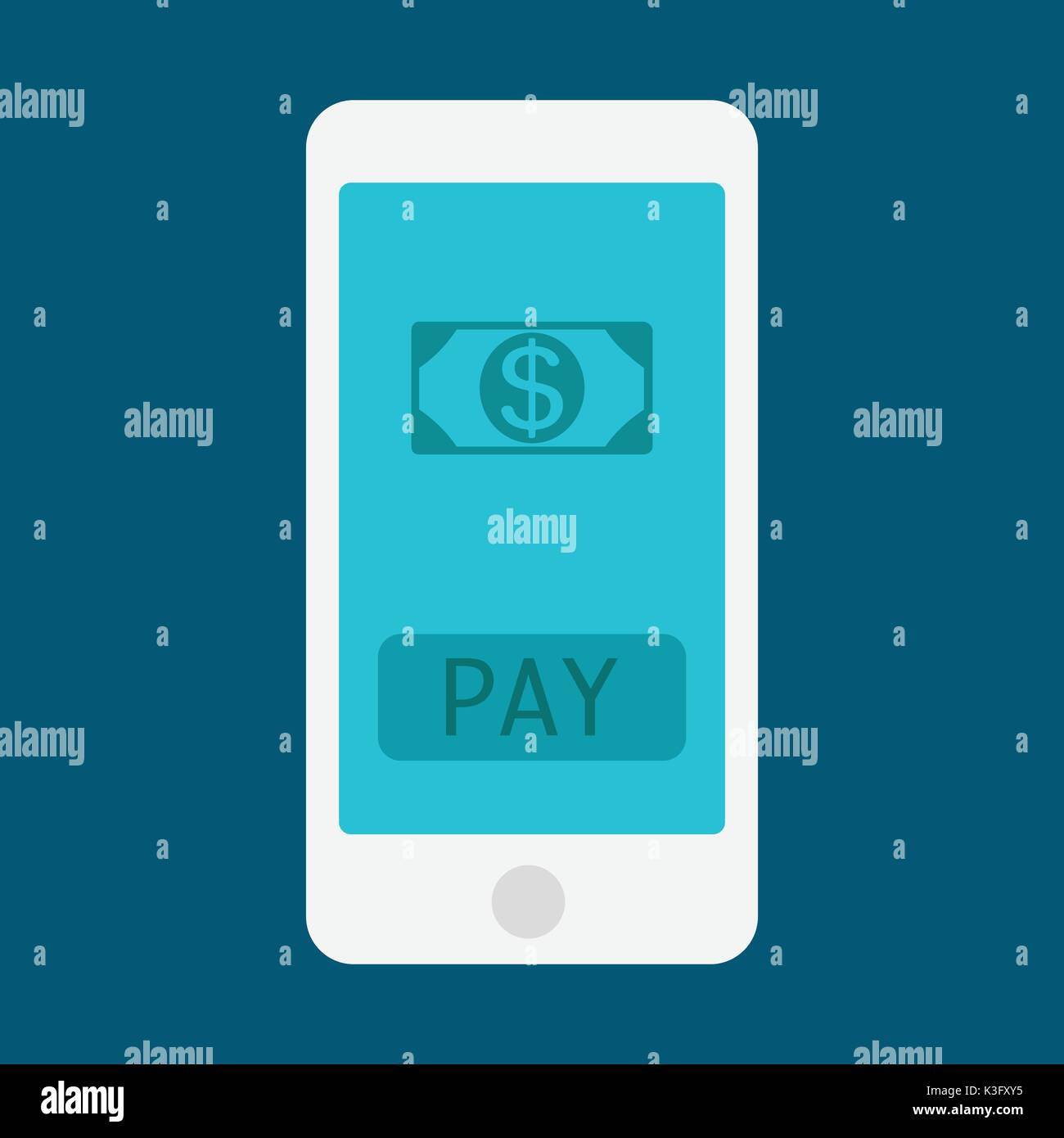 Hand holding smart phone and earning money stack - Stock Vector