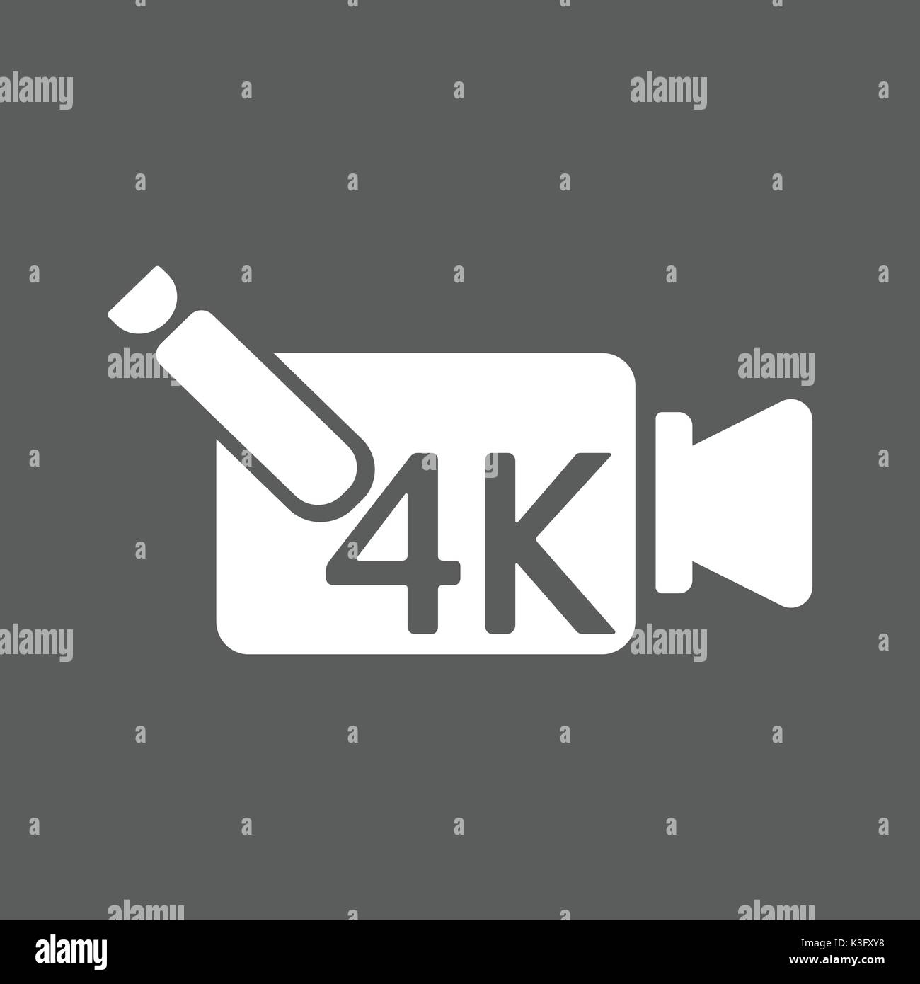 4k ultra hd video recorder icon isolated on background. vector - Stock Image