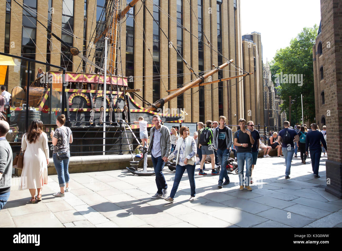 Bankside, UK. 2nd Sep, 2017. The Golden Hinde is an Elizabethan Galleon in London© Keith Larby/Aalmy Live News - Stock Image