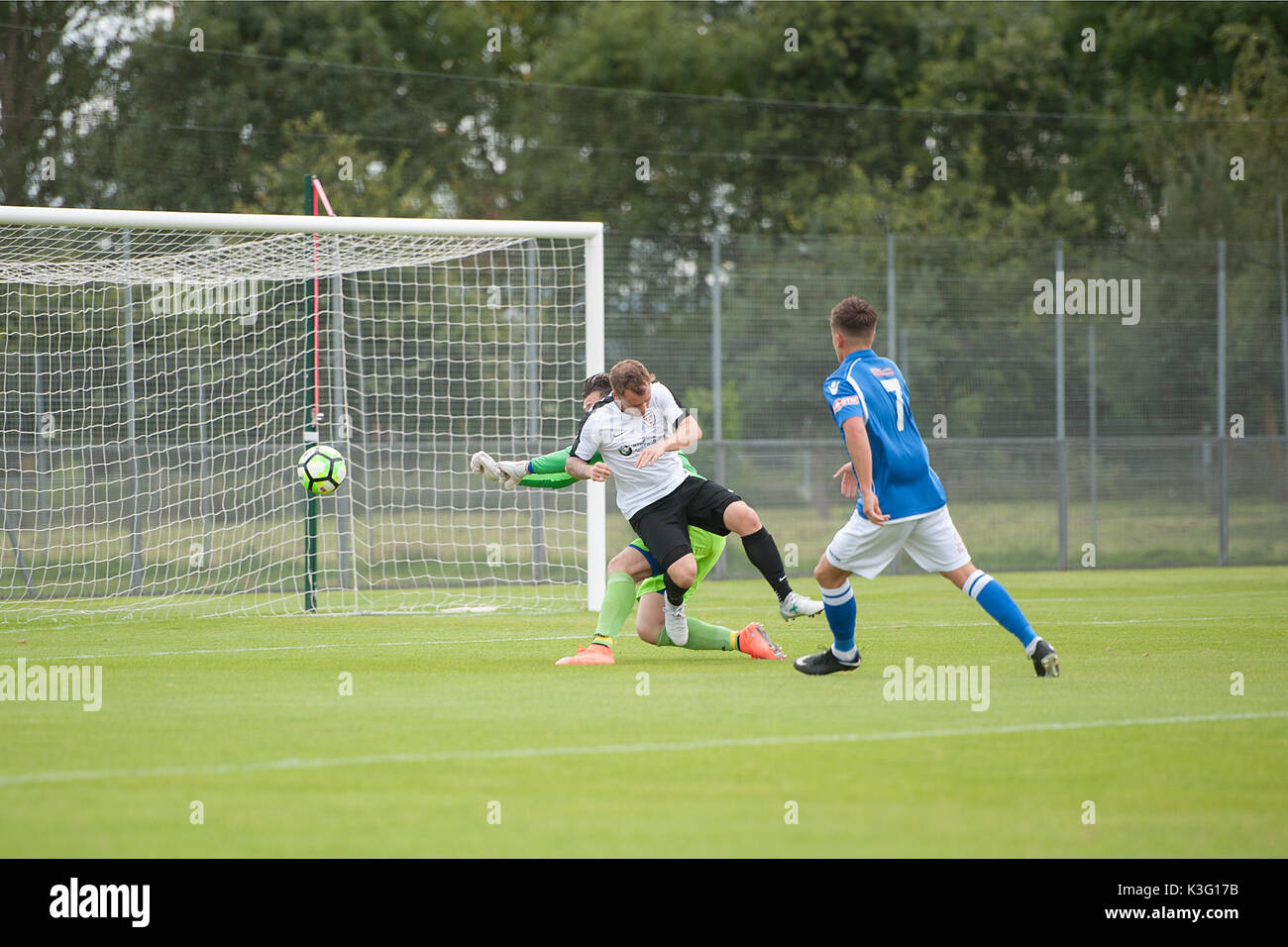 Shrewsbury, Shropshire, UK. 02nd Sep, 2017. Haughmond's Steven Hole is brought down by Matlock Town keeper and is awarded a penalty which he scores from. Credit: RICHARD DAWSON/Alamy Live News - Stock Image