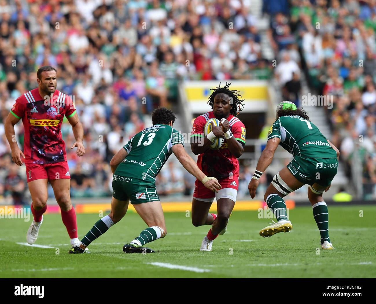London, UK. 02nd Sep, 2017. Marland Yrade was tackled during Aviva Premiership Rugby London Irish vs Harlequins at Twickenham Stadium on Saturday, 02 September 2017. LONDON ENGLAND. Credit: Taka G Wu Credit: Taka Wu/Alamy Live News - Stock Image