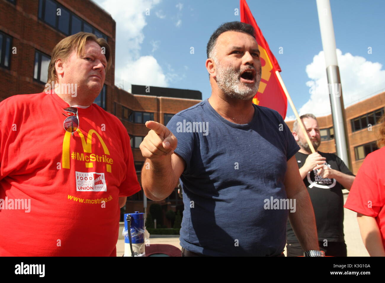 London, UK, 2nd September 2017.Mc Donalds workers and their supporters rally outside the company's HQ in East Finchley. The Bakers Food and Allied Workers Union (BFAWU) organised the rally which precedes a strike at two McDonalds branches on Monday. Pictured; Matt McCarten , a speaker from the New Zealand union Unite which has campaigned against McDonalds with Ian Hodson, national president BFAWU. Roland Ravenhill/Alamy Live News - Stock Image