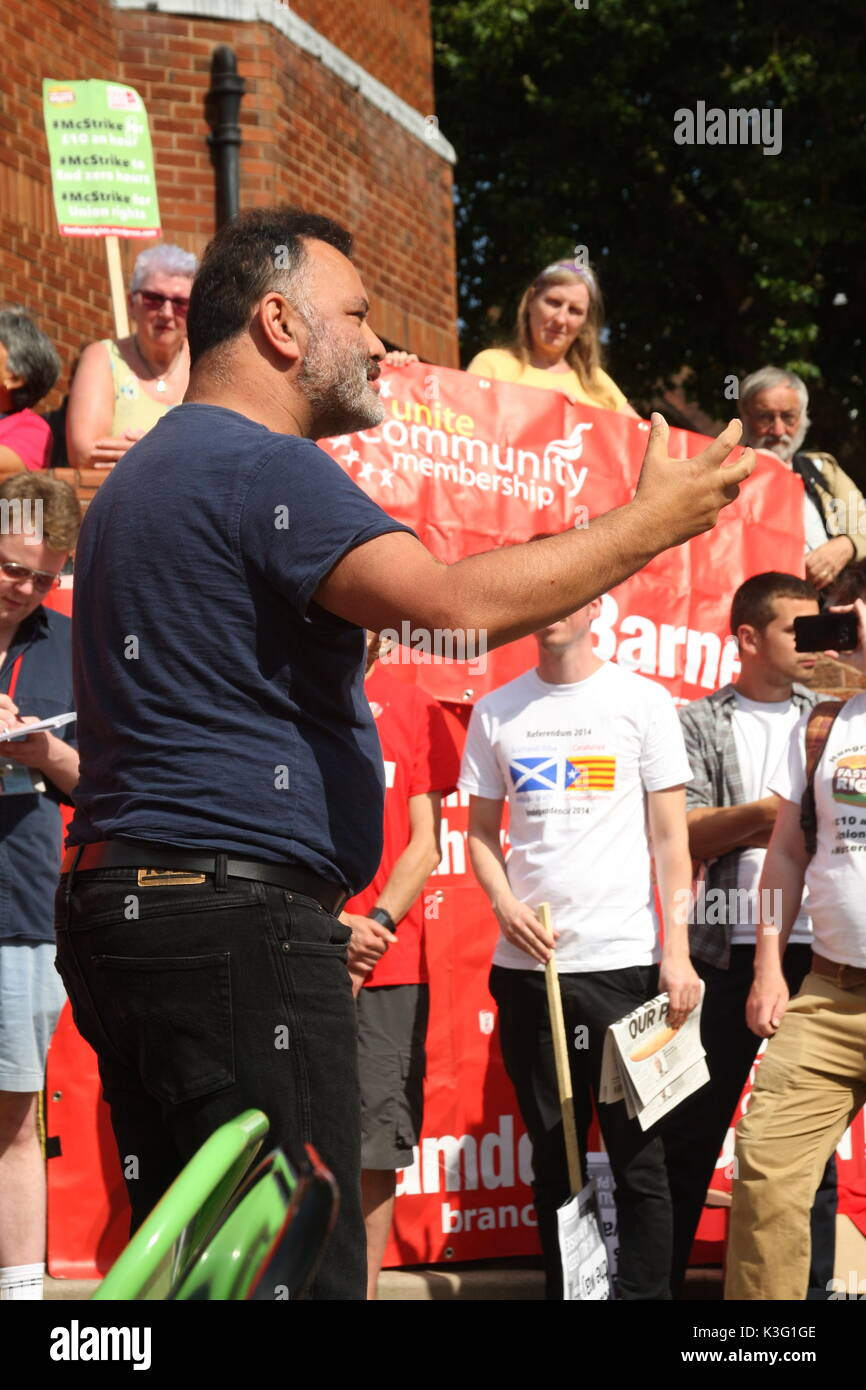 London, UK, 2nd September 2017.Mc Donalds workers and their supporters rally outside the company's HQ in East Finchley. The Bakers Food and Allied Workers Union (BFAWU) organised the rally which precedes a strike at two McDonalds branches on Monday. Pictured; Matt McCarten, a speaker from the New Zealand union Unite which has campaigned against McDonalds. Roland Ravenhill/Alamy Live News - Stock Image