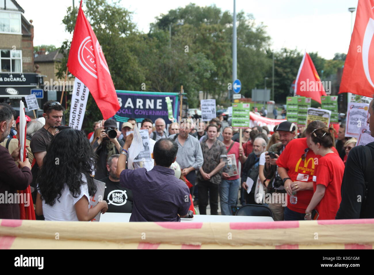 London, UK, 2nd September 2017.Mc Donalds workers and their supporters rally outside the company's HQ in East Finchley. The Bakers Food and Allied Workers Union (BFAWU) organised the rally which precedes a strike at two McDonalds branches on Monday. Roland Ravenhill/Alamy Live News - Stock Image