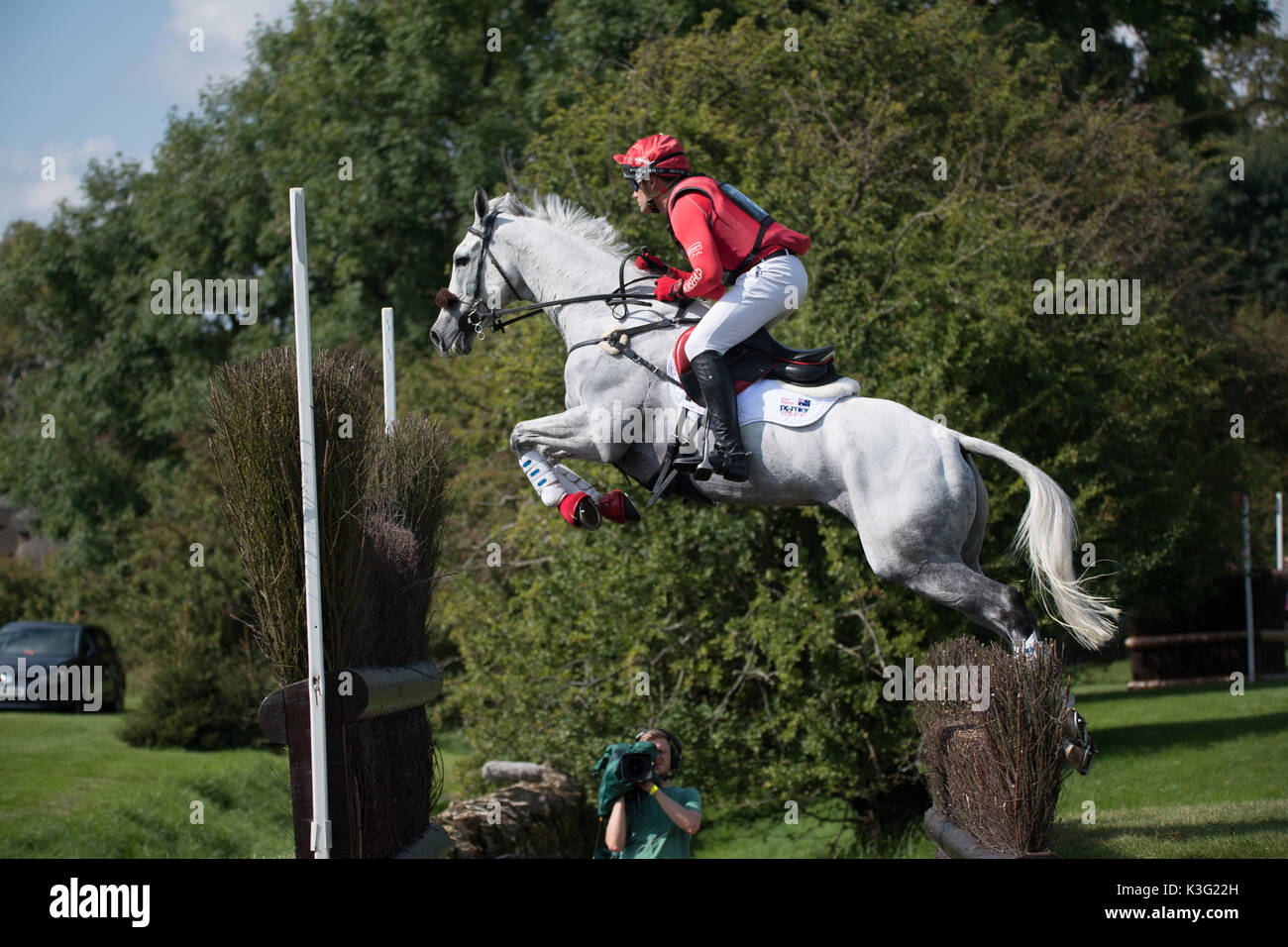 Stamford, Lincs, UK. 02nd Sep, 2017. Paul Tapner riding Bonanza king of rouges  at landrover Burghley Horse trials Stock Photo