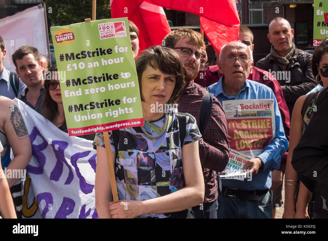 London, UK. 2nd September 2017. Supporters at the rally by McDonald's workers who are holding the first UK strike against the company on Monday, US Labor Day. They demand an end to zero hours contracts, £10 an hour and union recognition. Bakers, Food and Allied Workers Union (BFAWU) President Ian Hodson led the rally at which organisers from the New Zealand Unite union as well as strikers and other supporters spoke in solidarity. Credit: Peter Marshall/Alamy Live News - Stock Image