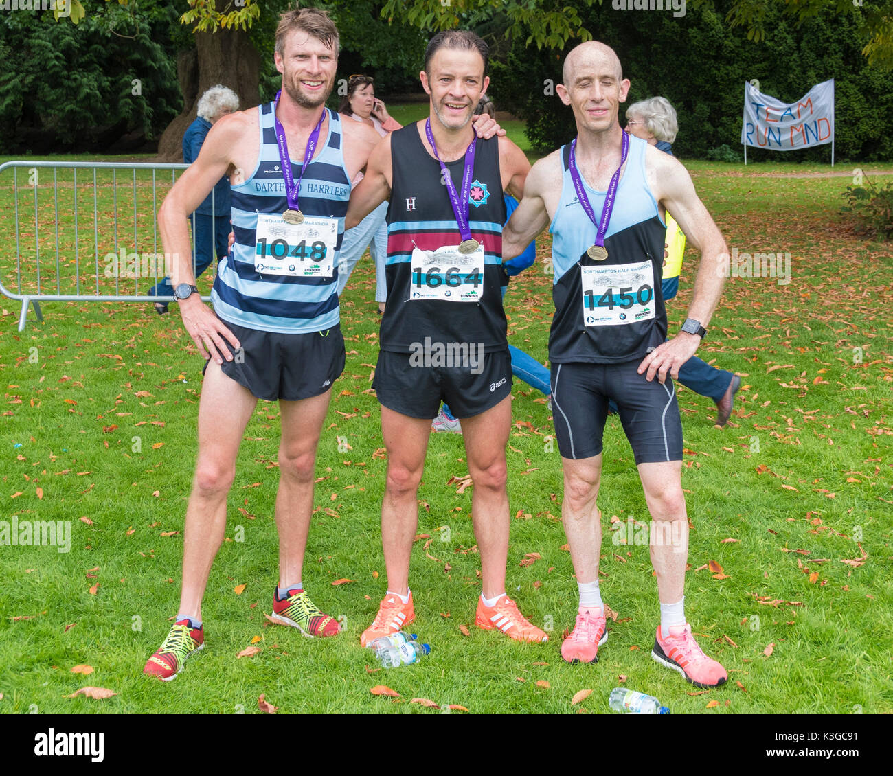 Northampton, UK. 3rd September, 2017. Northampton Half Marathon From Northampton  Guildhall to Delapre Country Park.  Park. FIRST  1664 PETER TUCKER  2nd  Phil  Melling  3th  Chris Biddle Credit: PATRICK ANTHONISZ/Alamy Live News - Stock Image