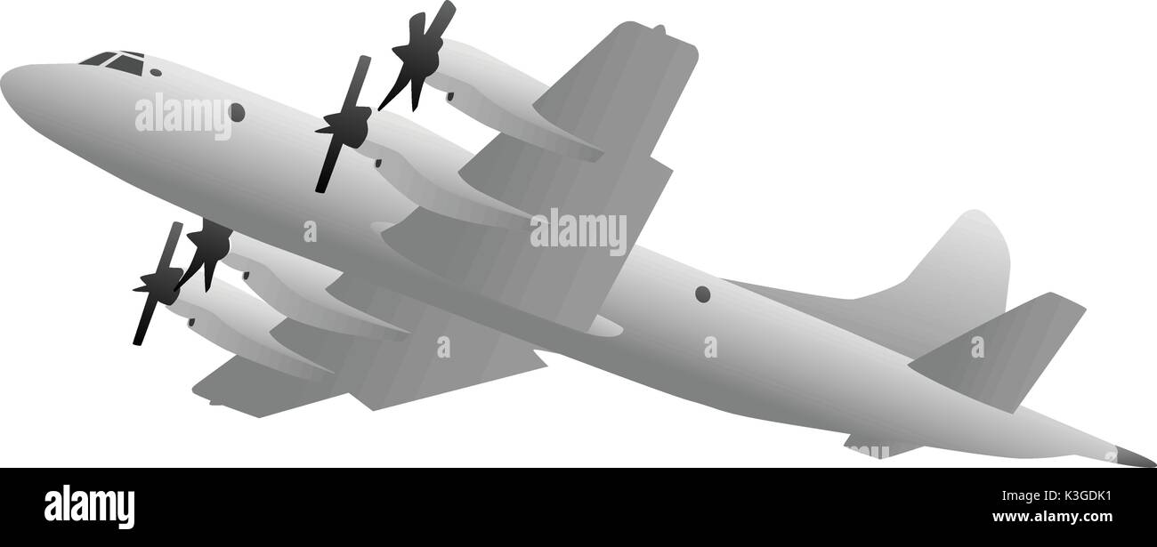 Naval Military Patrol Aircraft Illustration - Stock Image