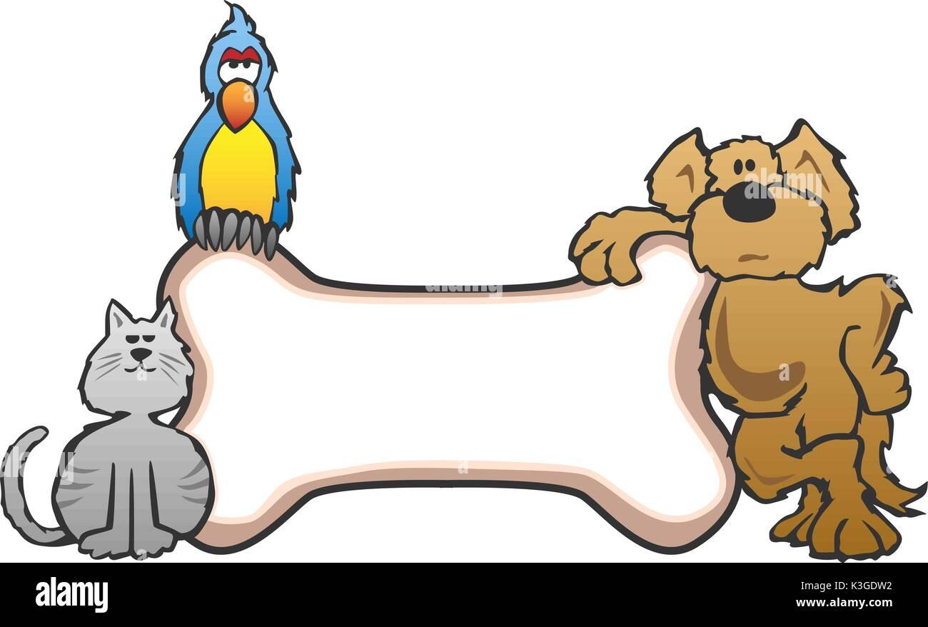 Dog, Bird and Cat with Bone Pet Sign Logo - Stock Image