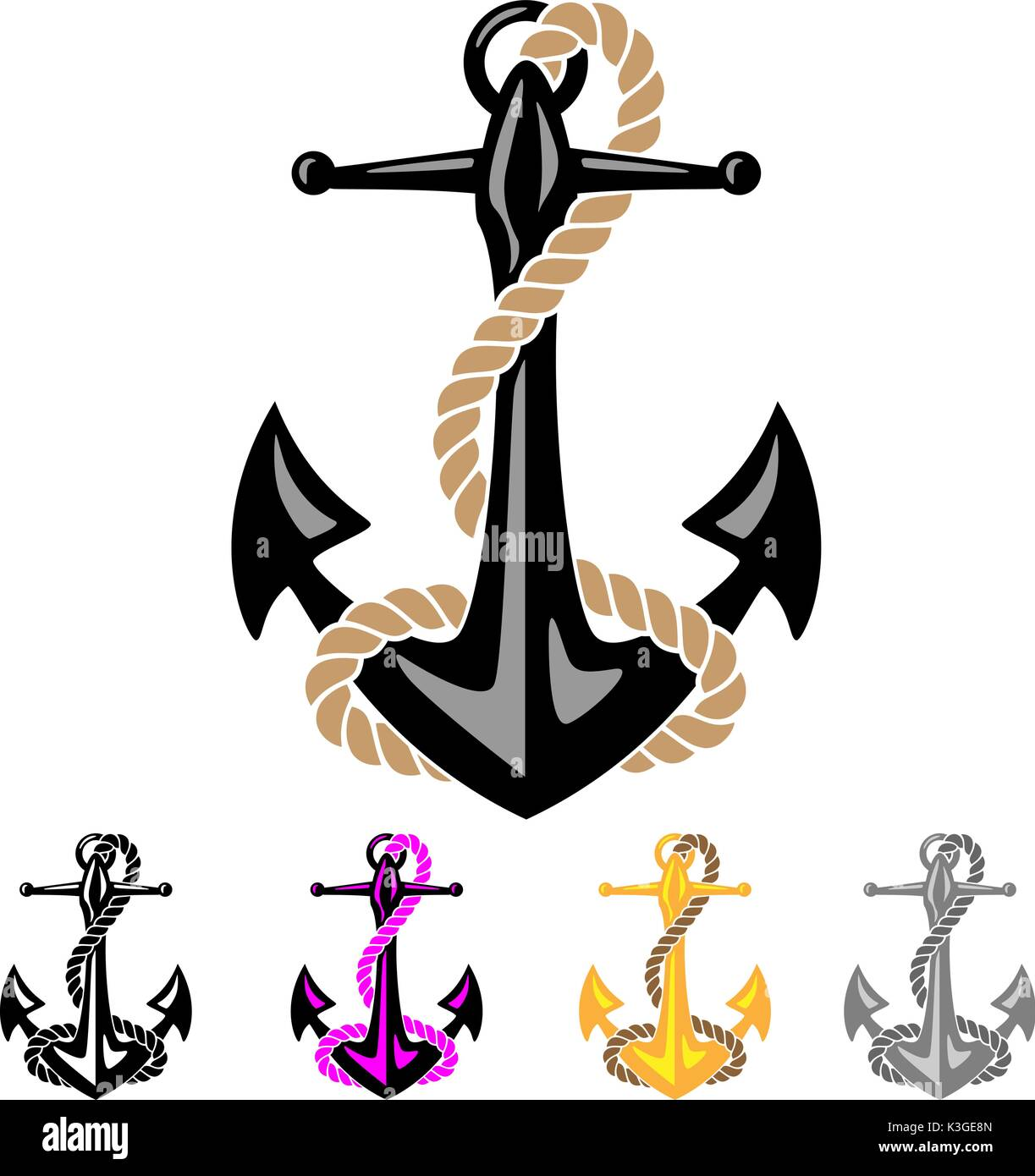 Anchor with Rope - Stock Image