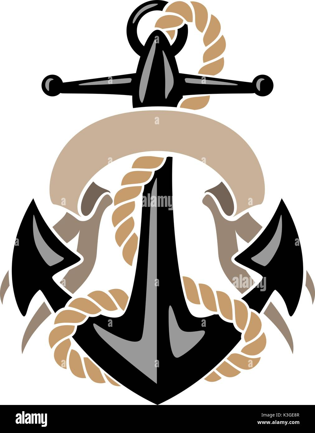 Anchor with Rope and Banner - Stock Image