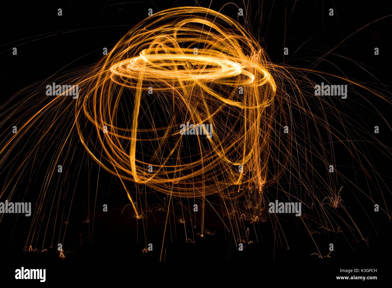 Abstract Path Tracing with Light Painting - Stock Image