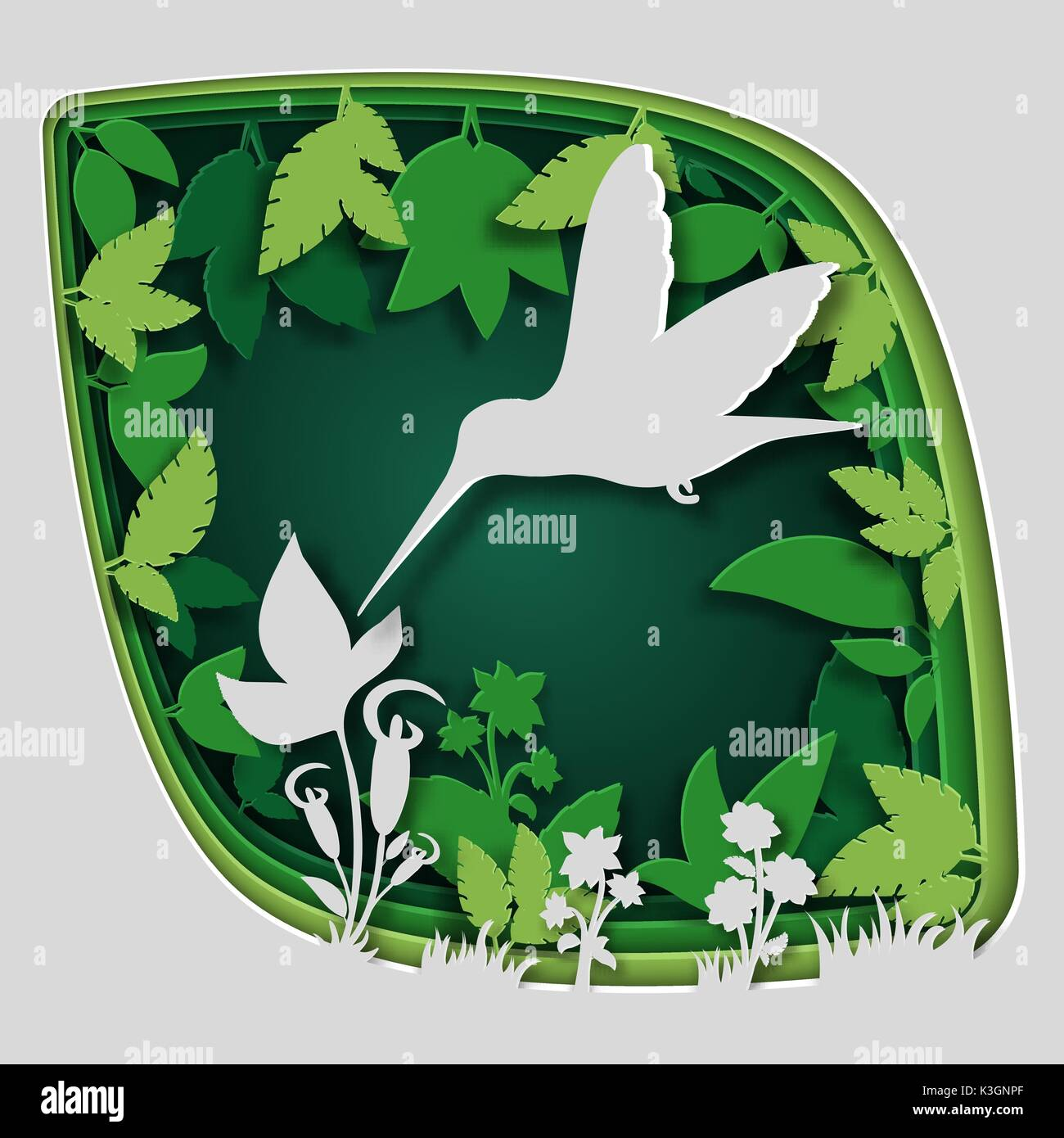 Paper Art Carve To Bird On Tree Branch In Forest At Night Origami Concept Nature And Animals Idea Vector Illustration