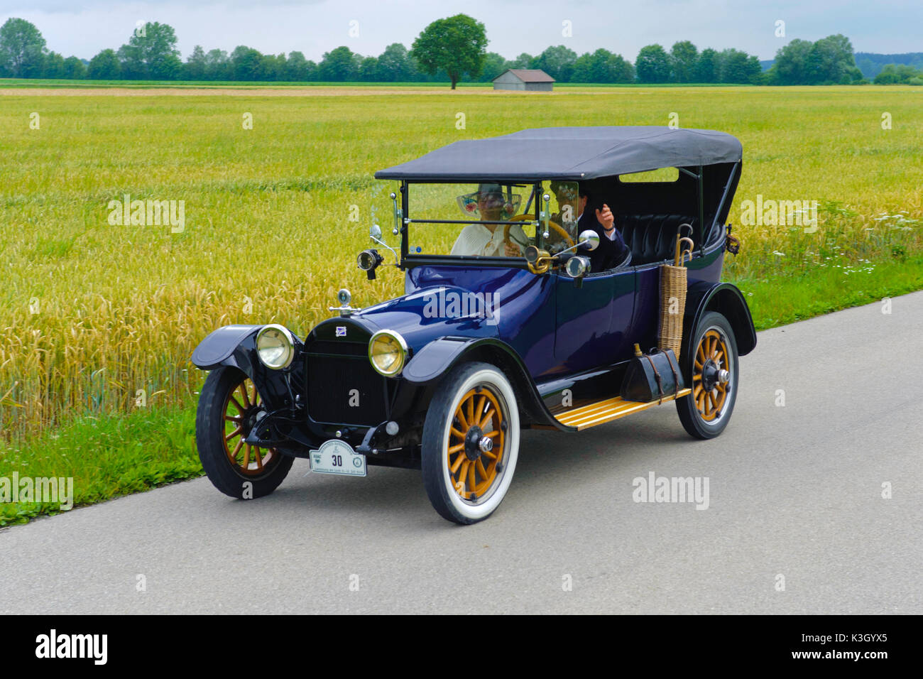 Old-timer rally 'Herkomer contention' in Landsberg in Lech for at least 80 year-old cars, here close Buick 45 D, year of manufacture in 1915 - Stock Image