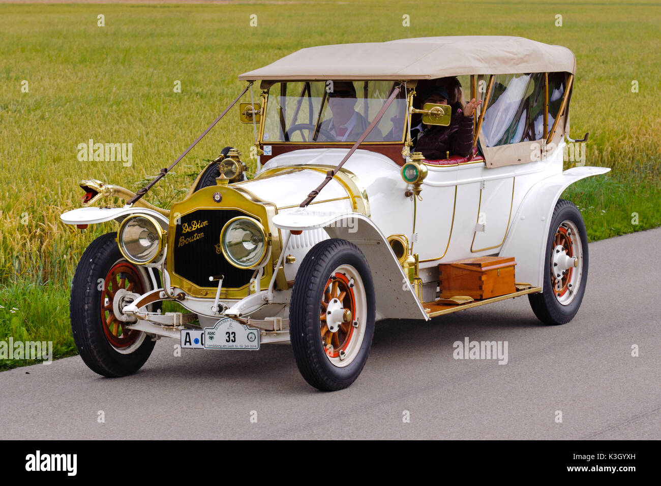 Old-timer rally 'Herkomer contention' in Landsberg in Lech for at least 80 year-old cars, here close De Dion Bouton, Baujahr1912 - Stock Image