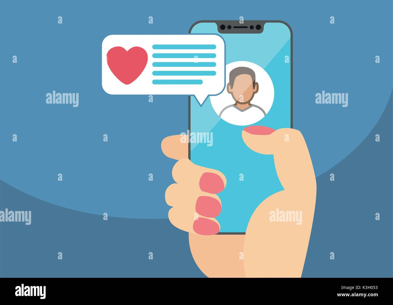 Concept of online dating and mobile chat app. Female hand holding modern bezel-free smartphone as vector illustration Stock Vector
