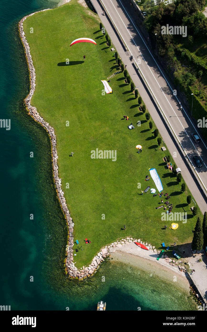 Paraglider landing field, Lake Garda, Malcesine, aerial picture, Veneto, Italy Stock Photo