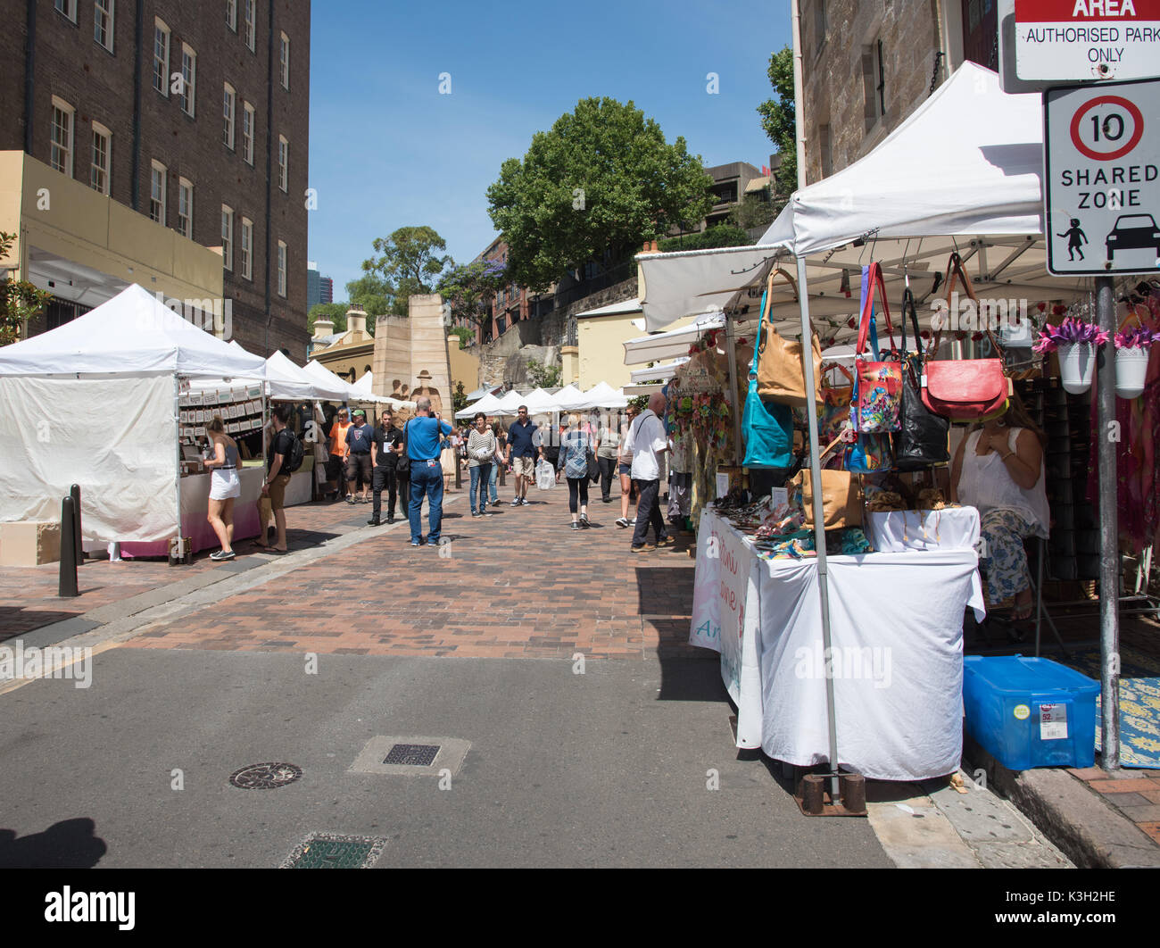 SYDNEY,NSW,AUSTRALIA-NOVEMBER 20,2016: Crowds and vendors at the Rocks Markets in Sydney, Australia - Stock Image