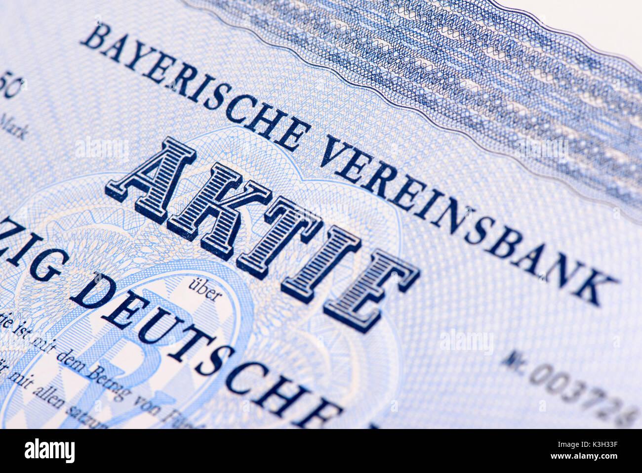 Stock of the Bayerische Vereinsbank - Stock Image