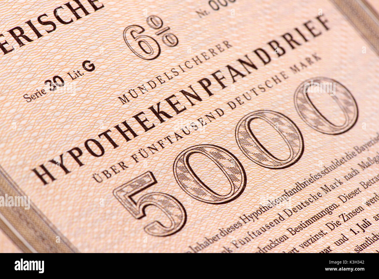 Mortgage bond of the Bayerische Vereinsbank more than 5000 DM - Stock Image