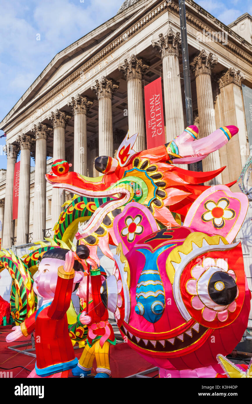 England, London, Chinatown, Chinese New Year Parade, Dragons - Stock Image