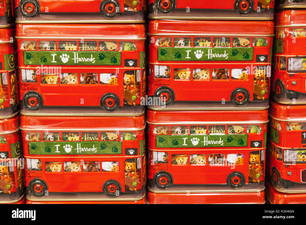 England, London, Knightsbridge, Harrods, Display of Harrods Biscuit Tins - Stock Image