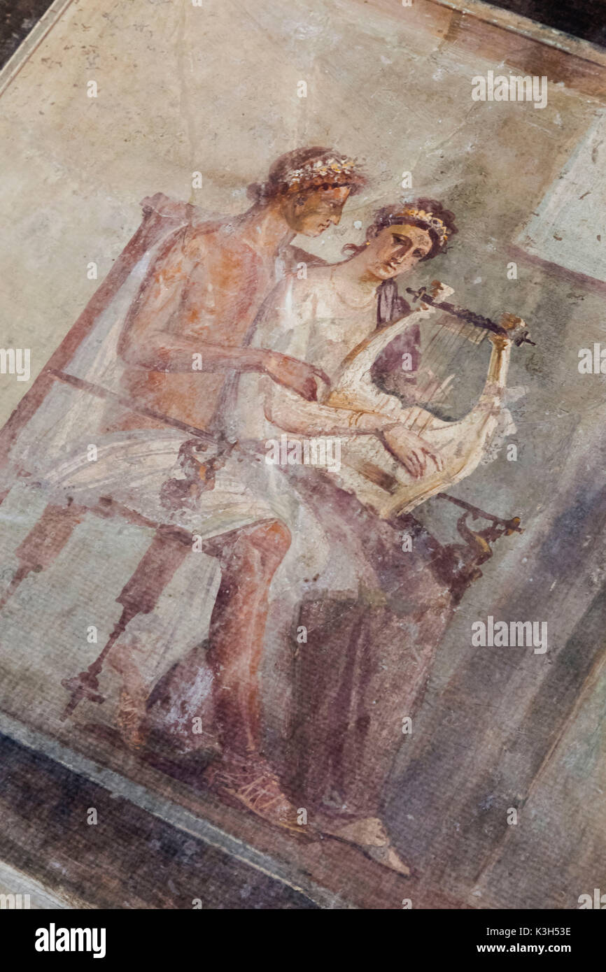 England, London, British Museum, Roman Empire Room, Roman Fresco of a Woman Playing the Lyre from Pompeii dated AD 50-79 - Stock Image