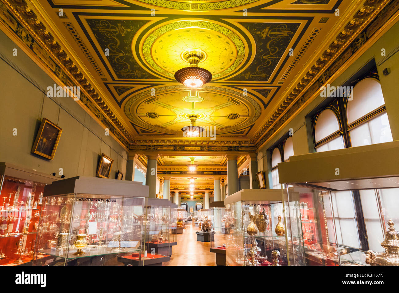 England, London, Kensington, Victoria and Albert Museum aka V&A, The Whitley Galleries, Silverware - Stock Image