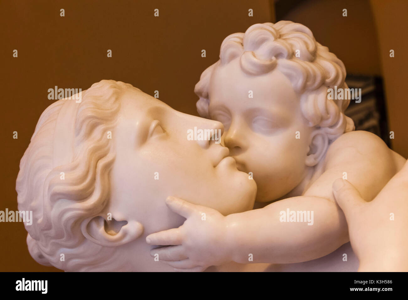 England, London, Kensington, Victoria and Albert Museum aka V&A, The Sculpture Room, Marble Statue titled 'Maternal Affection' by Edward Hodges Baily dated 1837 - Stock Image