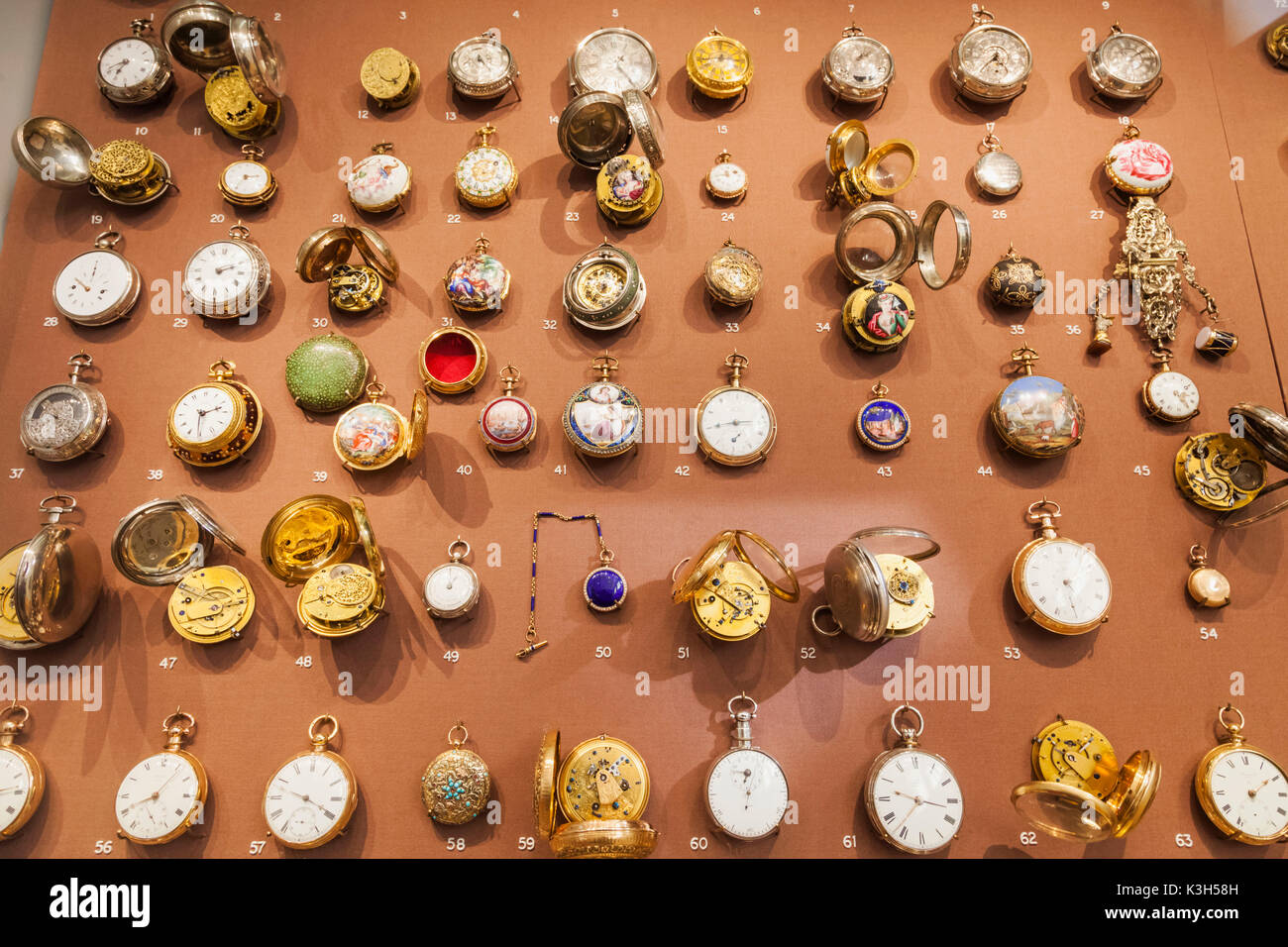 England, London, Kensington, Science Museum, Display of The Nelthropp Collection of Pocket Watches - Stock Image