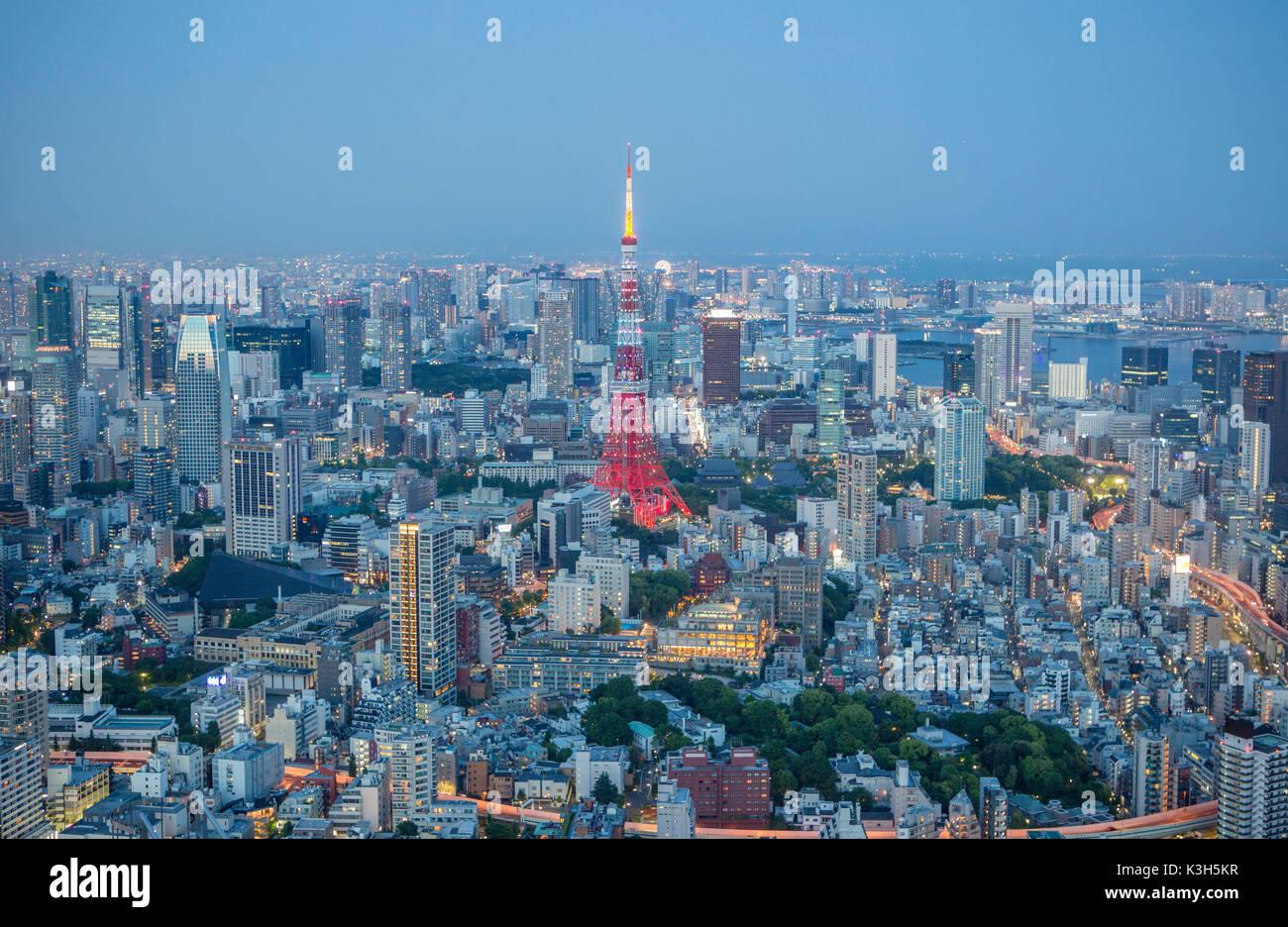 Japan, Tokyo City, Minato Ku District, Tokyo Tower Stock Photo